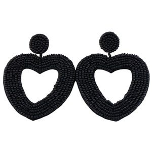 Large Black Beaded Heart Drop Statement Earrings